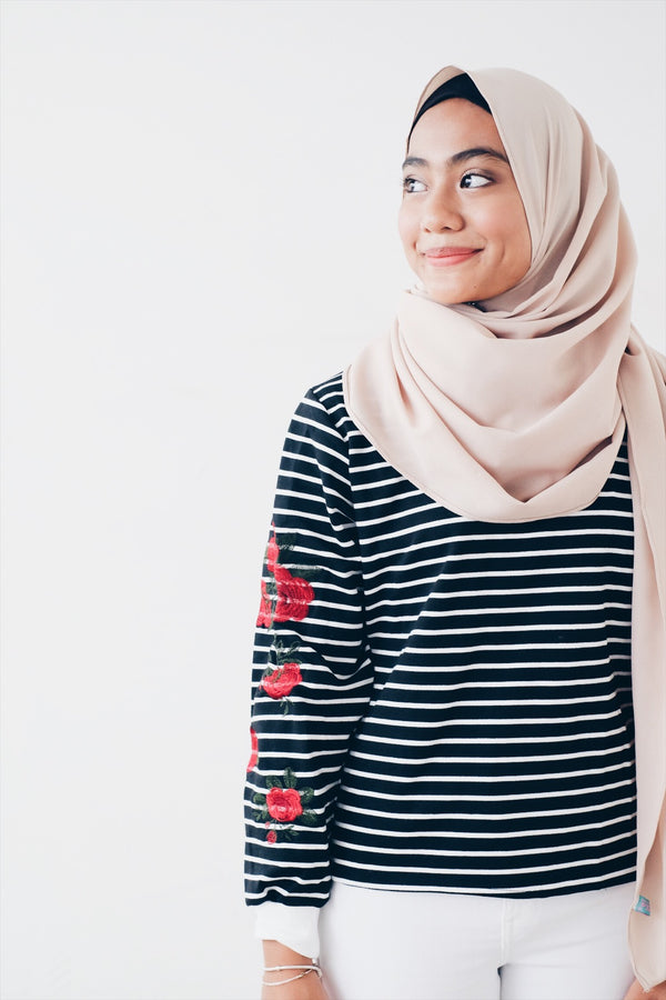 Striped Rose Embo Pullover