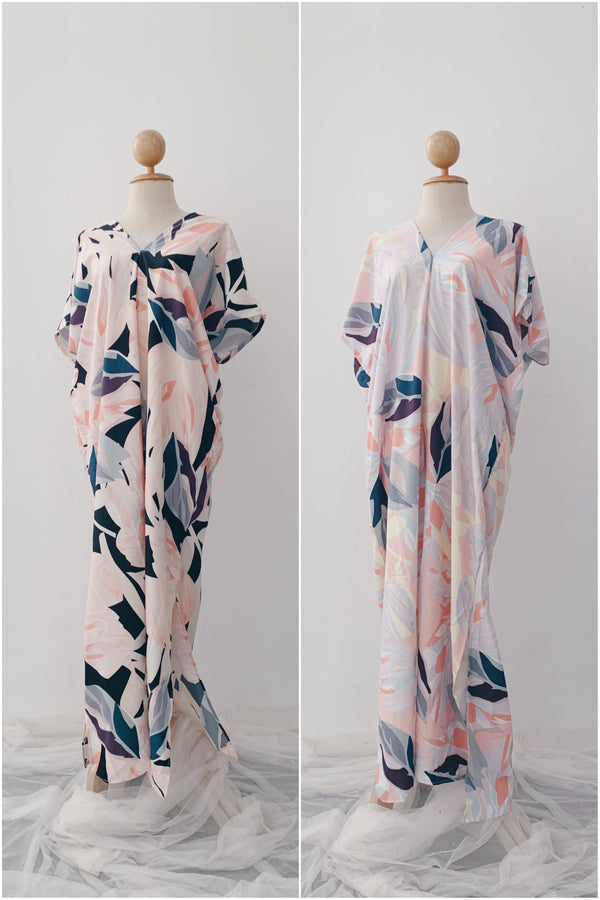 Summer Slip on Kaftan - Faded Leaf