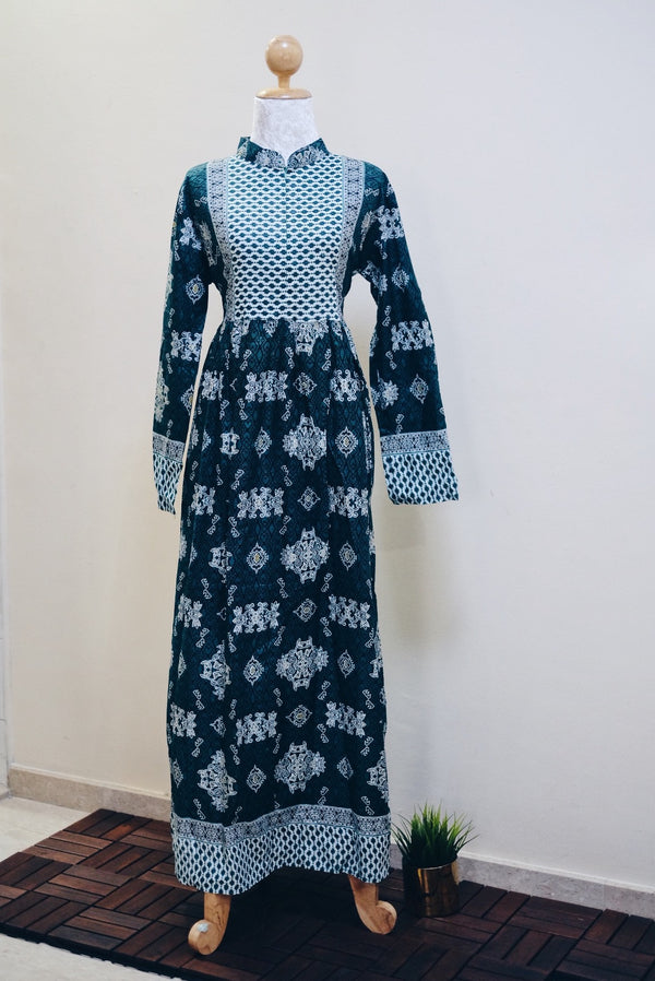 Batik Maxi Dress - Dua Green (Instock)