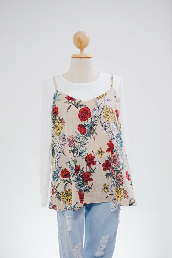 Short Slip On Top - Spicy Flower