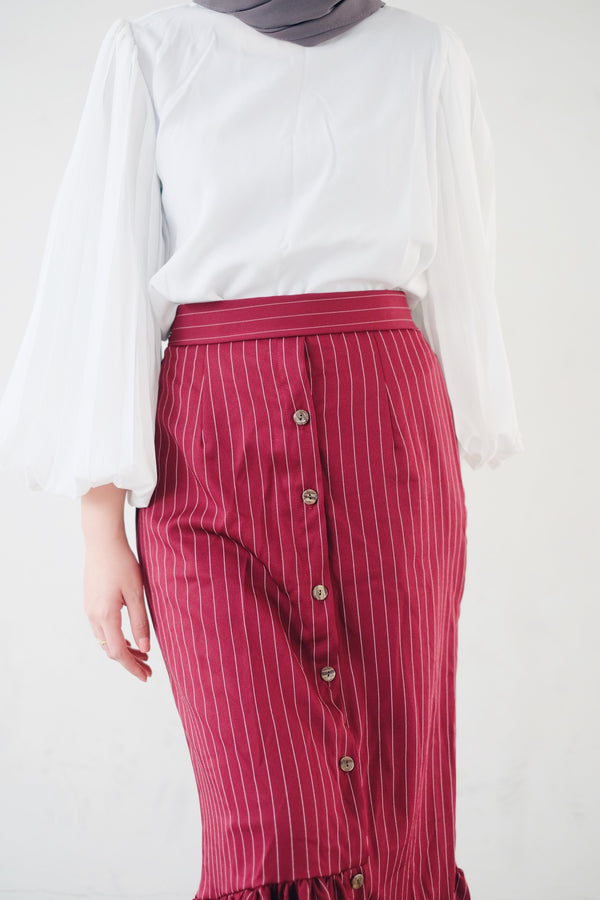 Stripe Ruffle Skirt
