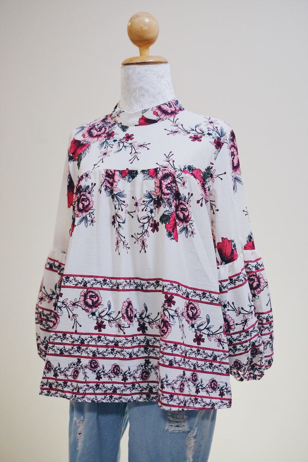 Printed Doll Top -  Amaryllis Bordered