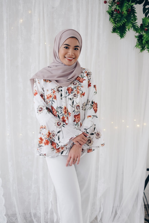 Printed V Neck Top - Sage