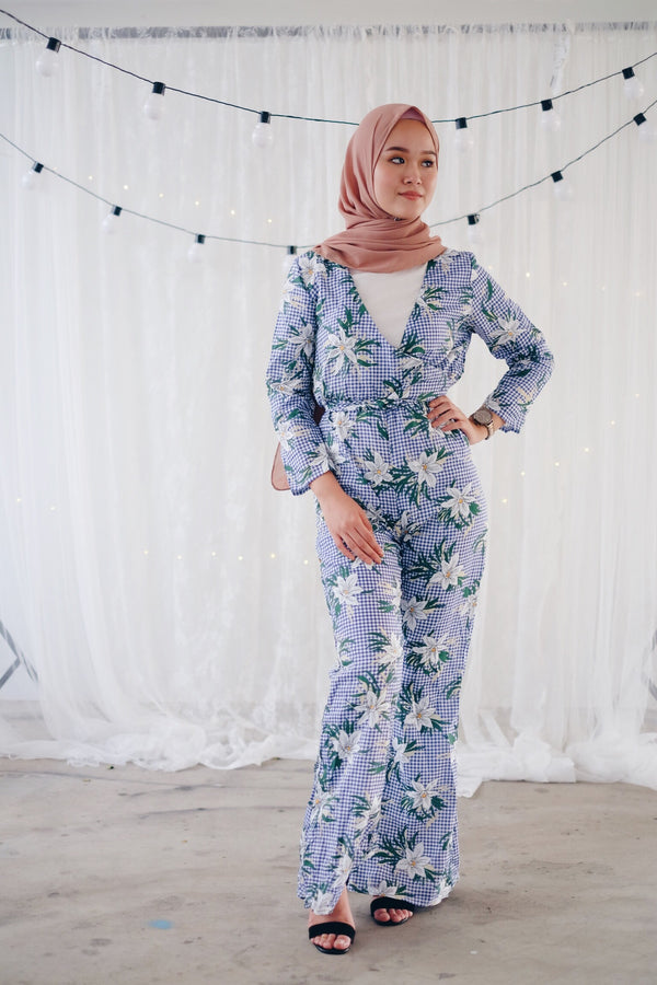Checkered Floral Jumpsuit