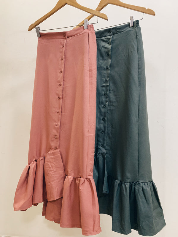 Ruffle Button Skirt