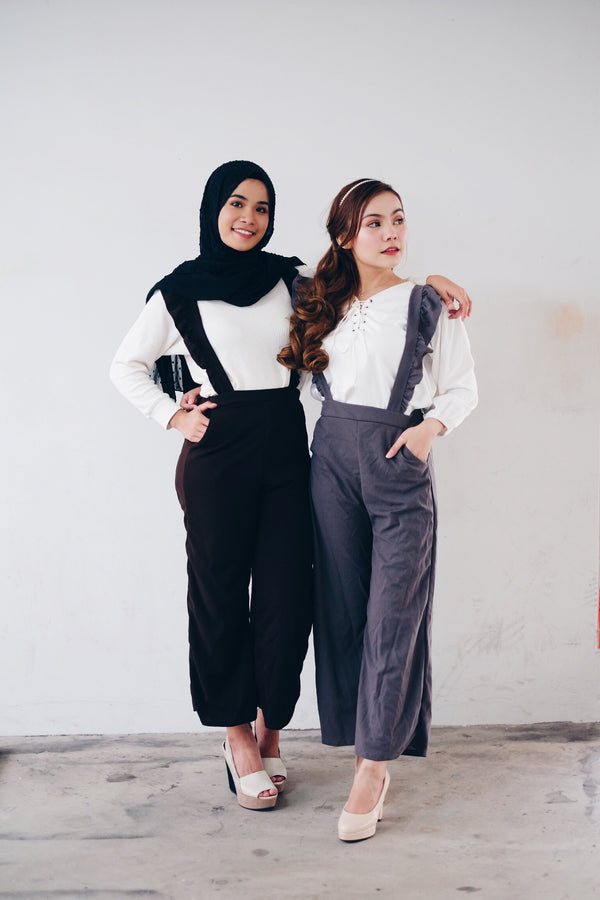 Ruffle Suspender Pants