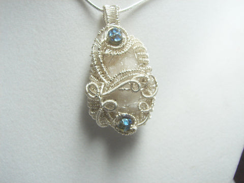 Quartz -Fairy Crystal -Druzy -Pendant- Peacock Ore Accents-OOAK-Sterling and Fine Silver-free SP chain