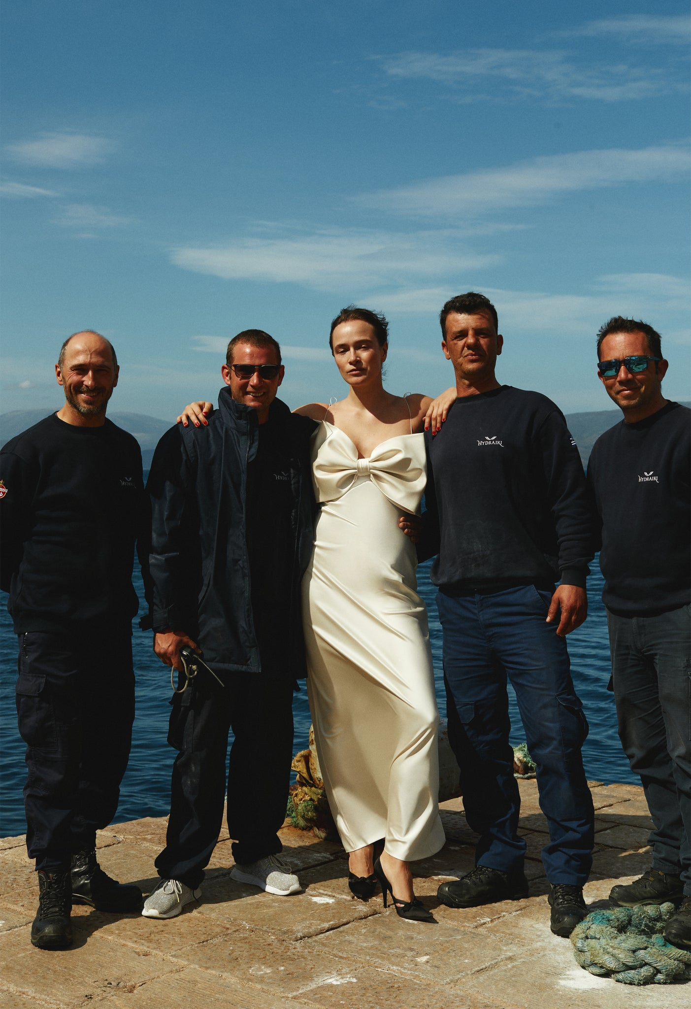 Model in Gala goes to ball dress in Hydra