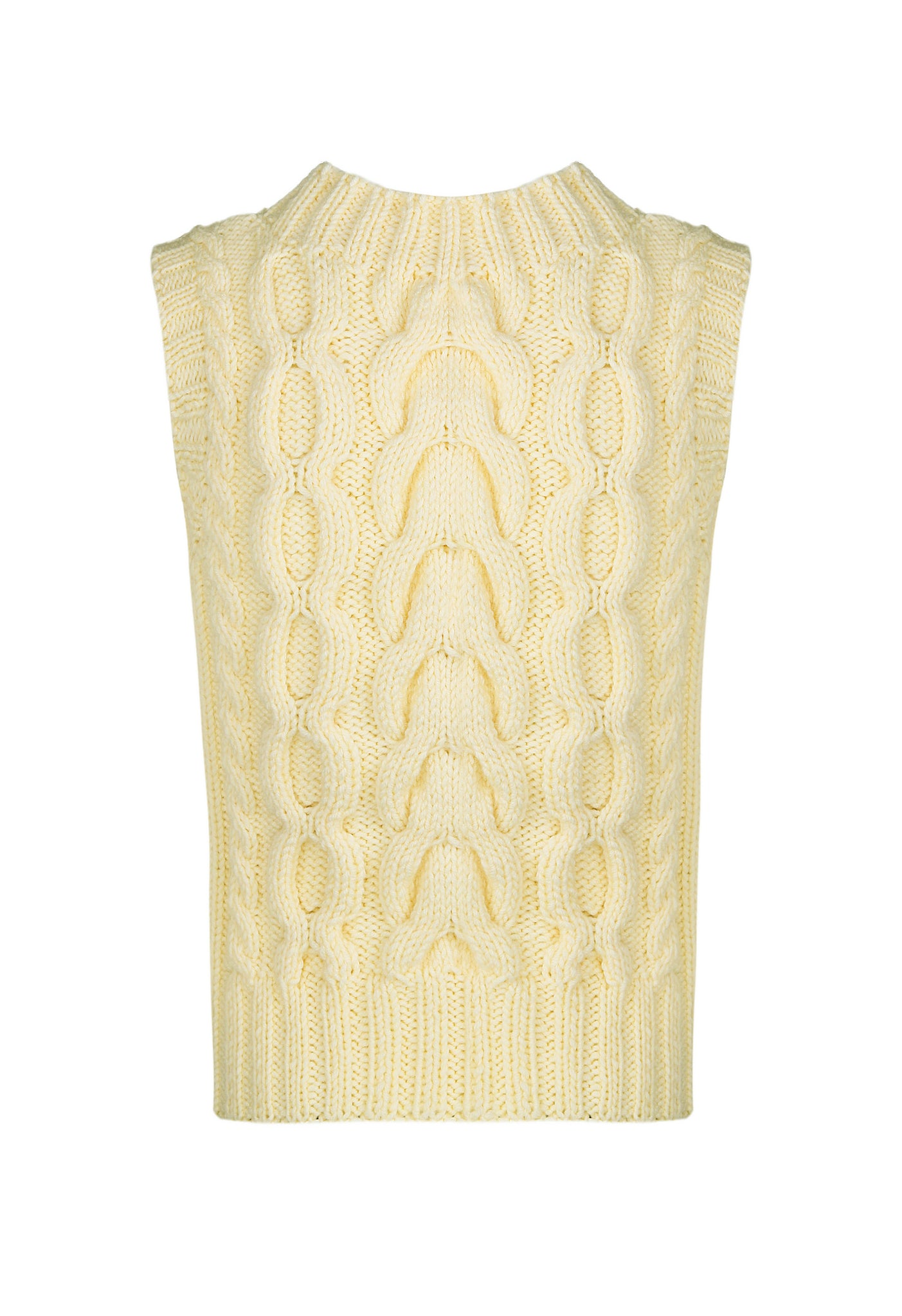 Cream hand knitted vest, back view