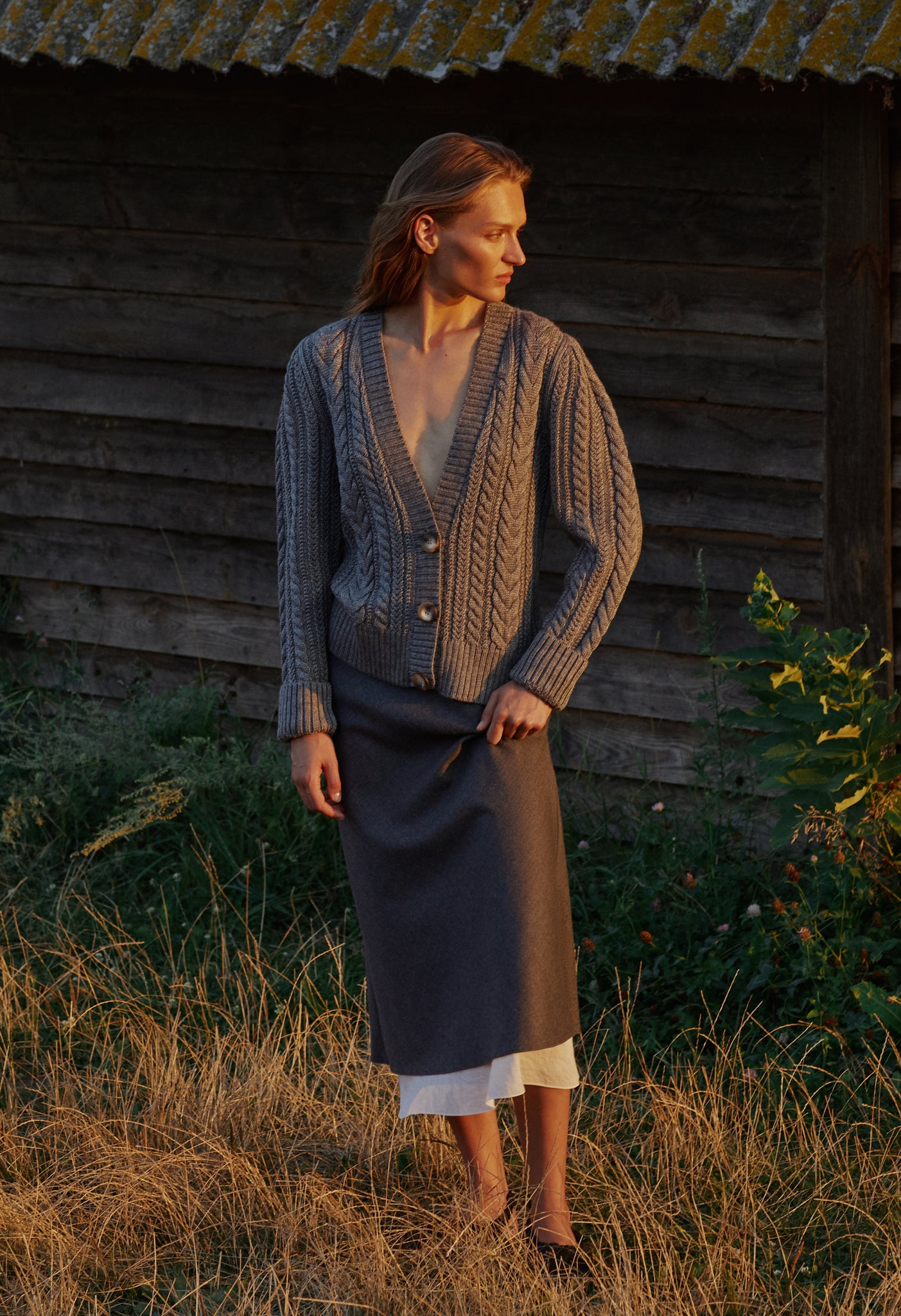 Model in Glevaha cardigan
