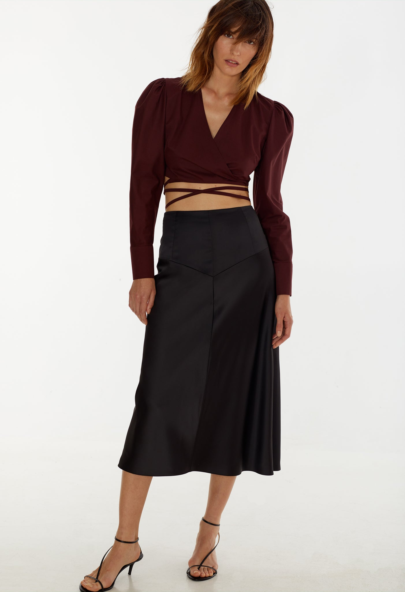 Model in 'Black coffee' skirt