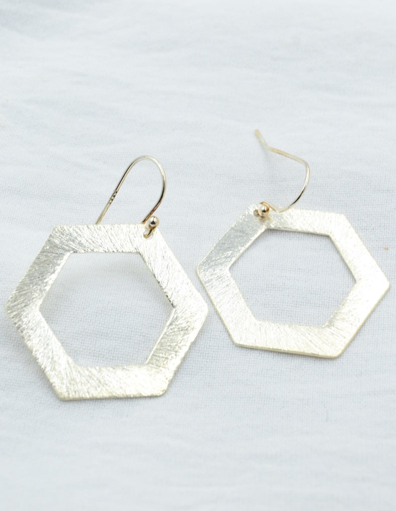 Aurora Brushed Hexagons in Silver