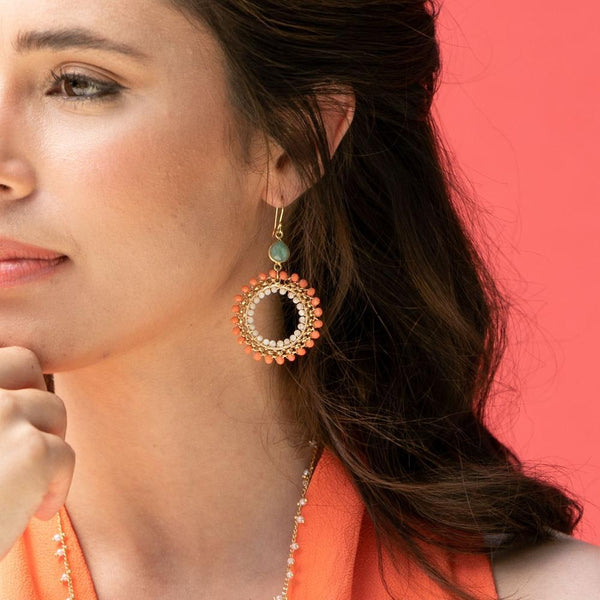 Shelley Taylor Coral Rolo Chain wrap earrings