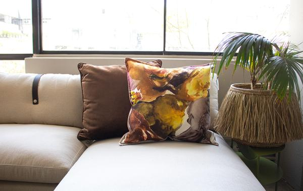 Wanderland Anastasia Pather Marigold Oyster Velvet Scatter Cushion