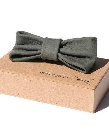 Major John Blue-Grey Genuine Leather Bow Ties
