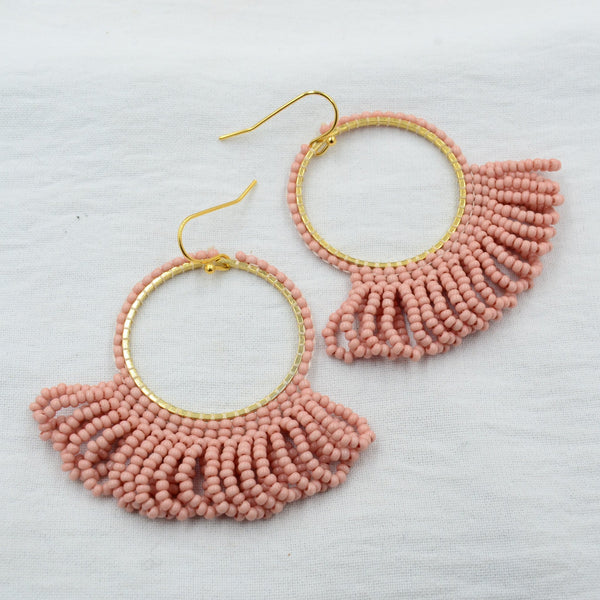 Aurora Dope Dropped Hoops in Dusty Pink
