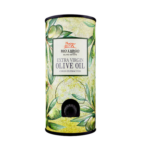 Rio Largo Extra Virgin Olive Oil 1l in a Tube - Green olive leaves