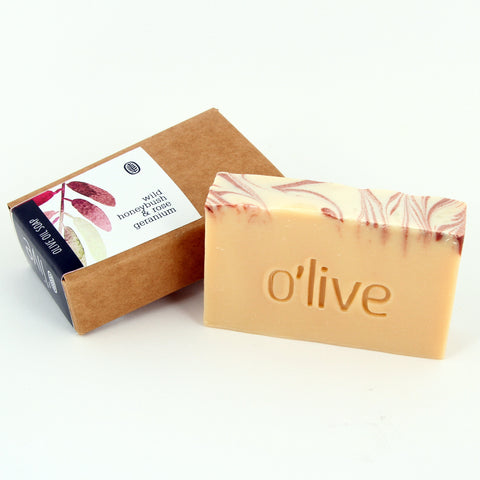 O'live Honeybush and Rose Geranium olive oil soap