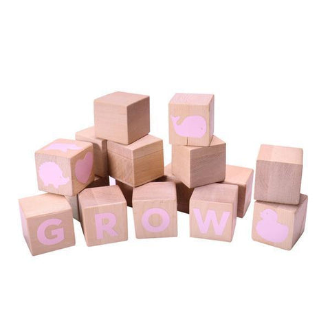 Alphabet Blocks with pink stickers