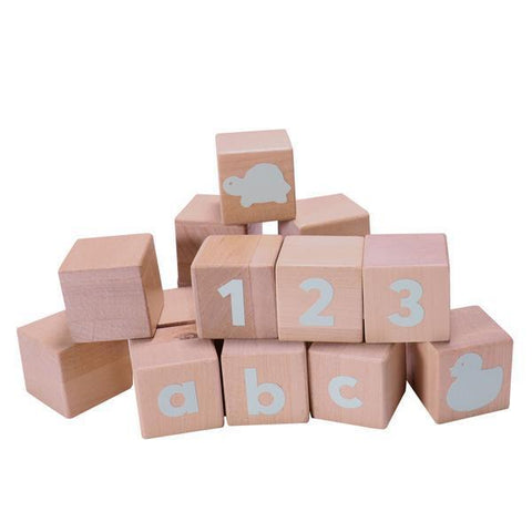 Alphabet Blocks with spearmint stickers