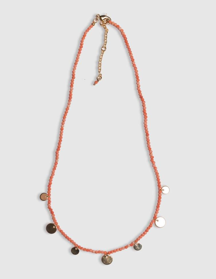 Shelley Taylor Short Coral Disc Necklace
