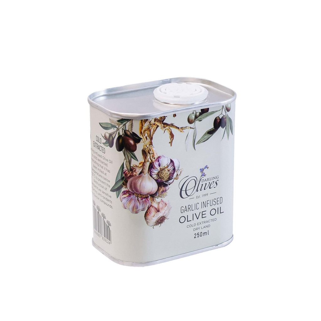 Darling Garlic infused Olive Oil 250ml in a tin