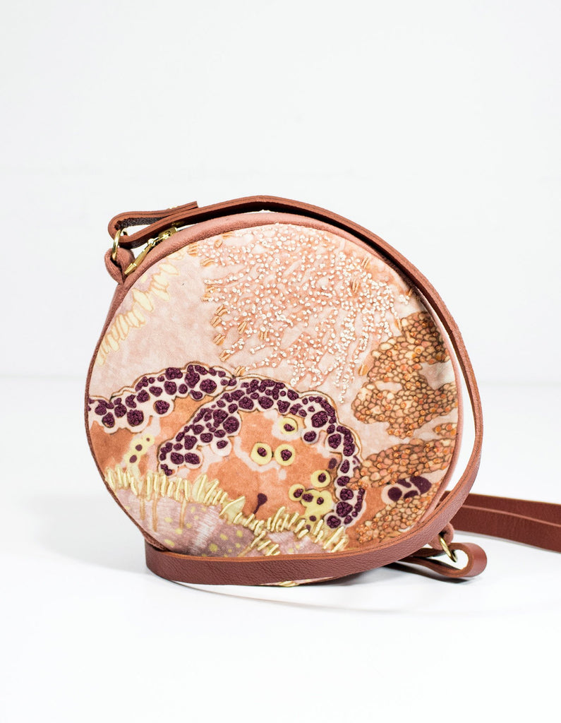 Wanderland Oceanum Coral Embroidered Velvet Circle Bag