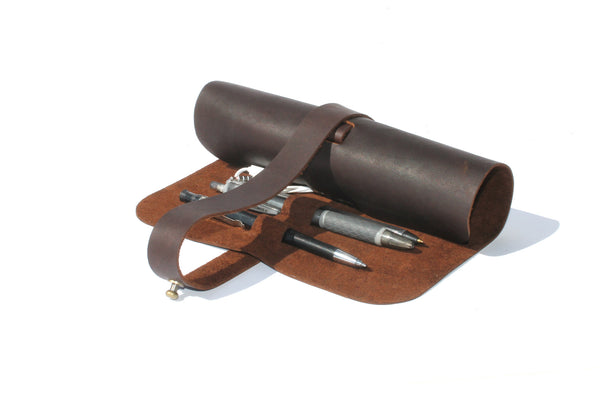 Major John Genuine Leather Cable and Pen Roll-up