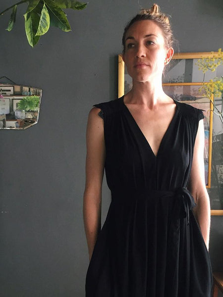 Found The Flow Dress in Black with sequined shoulder embellishment