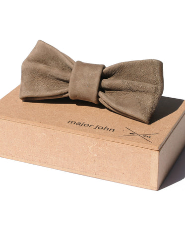 Major John Grey-Brown Genuine Leather Bow Ties