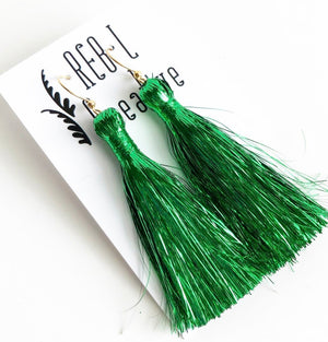 St. Patrick's Day Tinsel Earrings