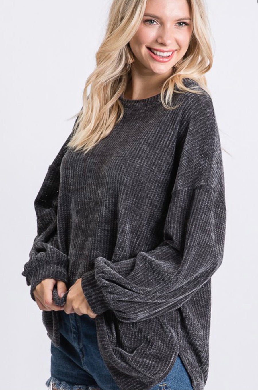 See My Way Grey Chenille Sweater
