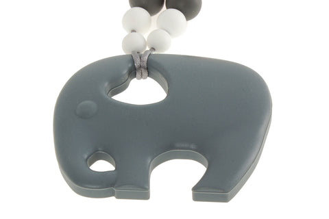4babyNme Silicone Teething Necklace - Elephant Grey