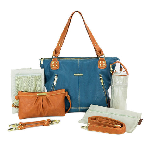Timi and Leslie Kate Diaper Bag - Teal with Accessories Front View