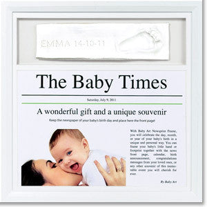 BabyArt Baby Framed Handprint Impression with Day-of-Birth Newspaper - PeppyParents.com