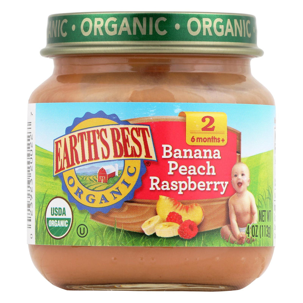 Earth's Best Organic Banana Peach Raspberry Baby Food - Stage 2 - Case Of 12 - 4 Oz.