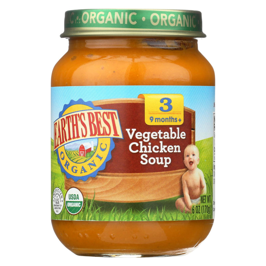 Earth's Best Organic Vegetable Chicken Soup Baby Food - Stage 3 - Case Of 12 - 6 Oz.