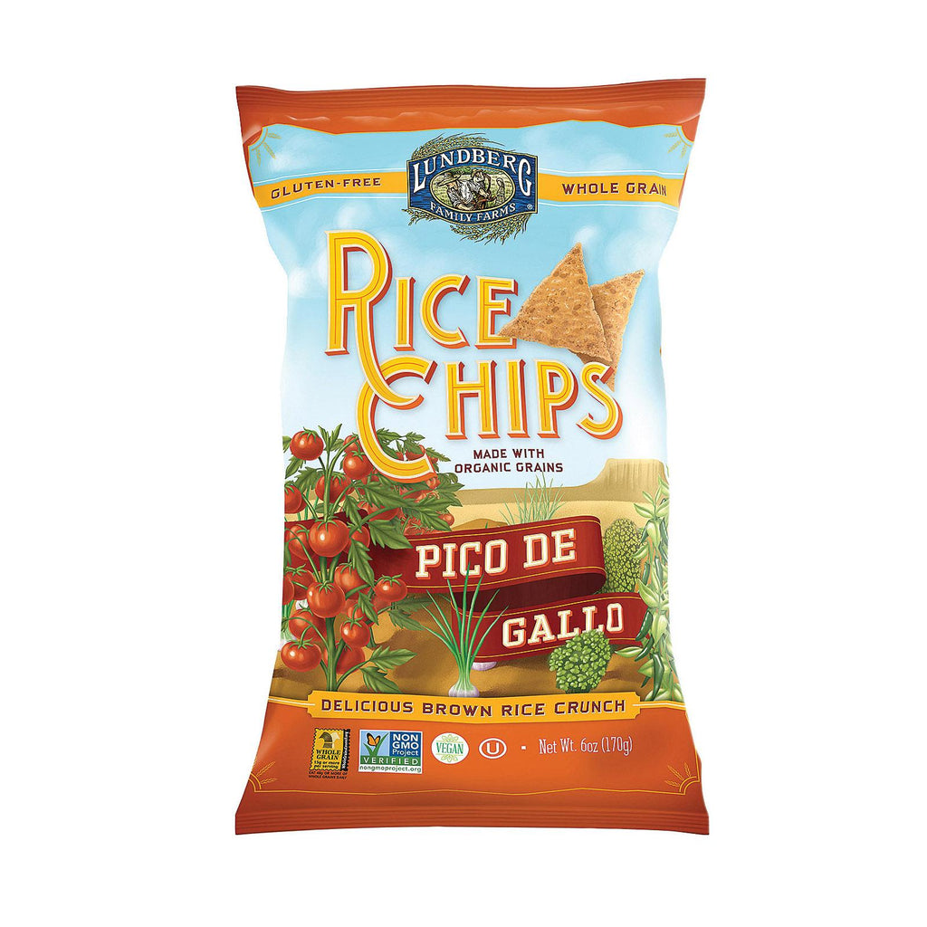 Lundberg Family Farms Rice Chips - Pico De Gallo - Case Of 12 - 6 Oz.