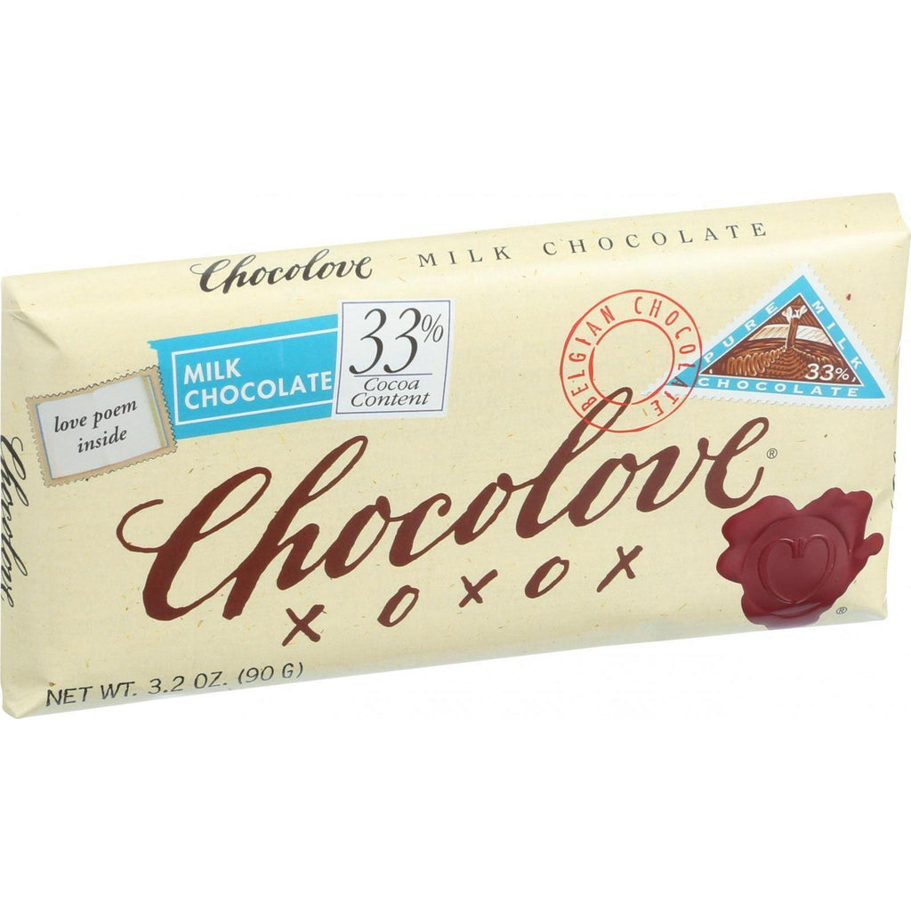 Chocolove Xoxox Premium Chocolate Bar - Milk Chocolate - Pure - 3.2 Oz Bars - Case Of 12