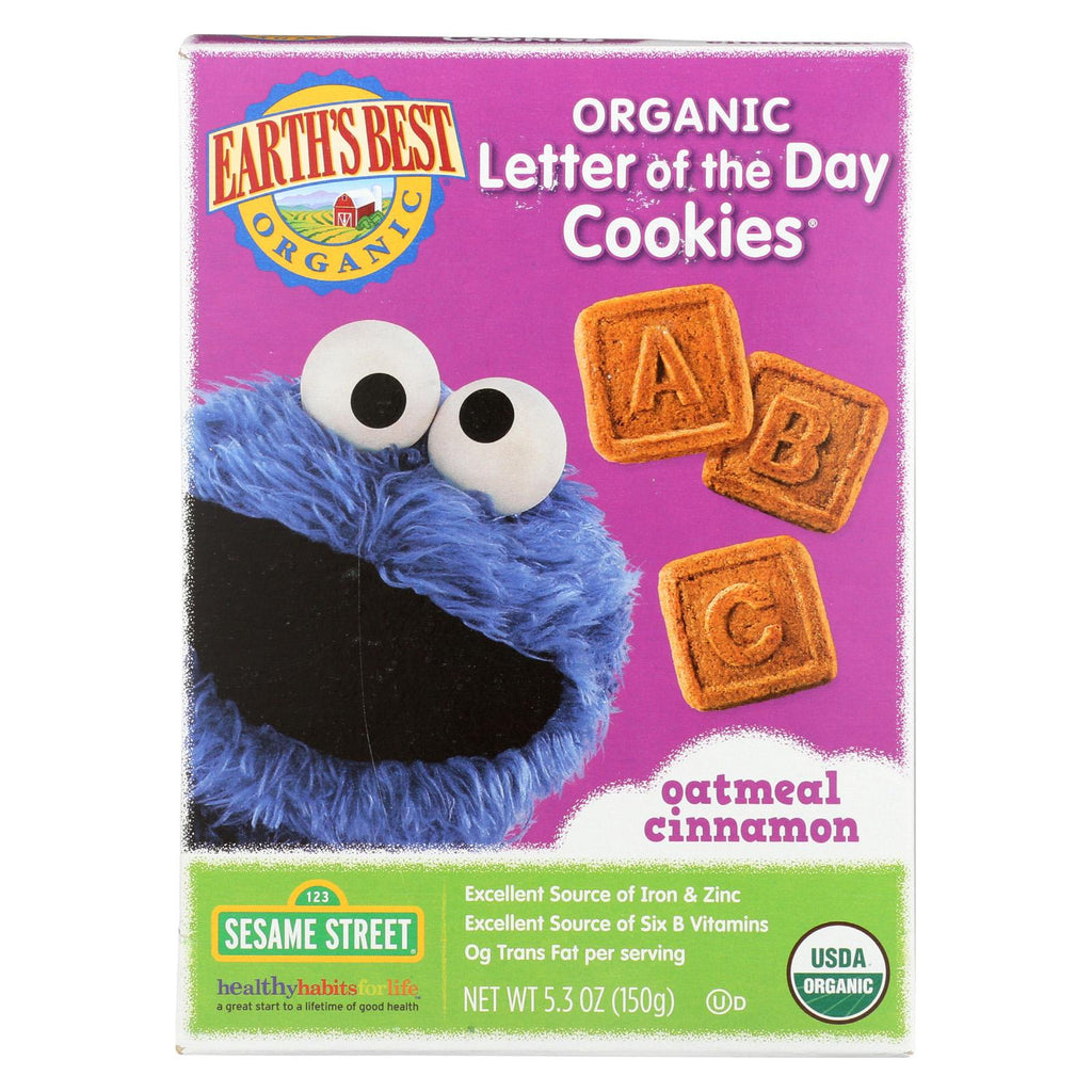 Earth's Best Organic Letter Of The Day Oatmeal Cinnamon Cookies - Case Of 6 - 5.3 Oz.