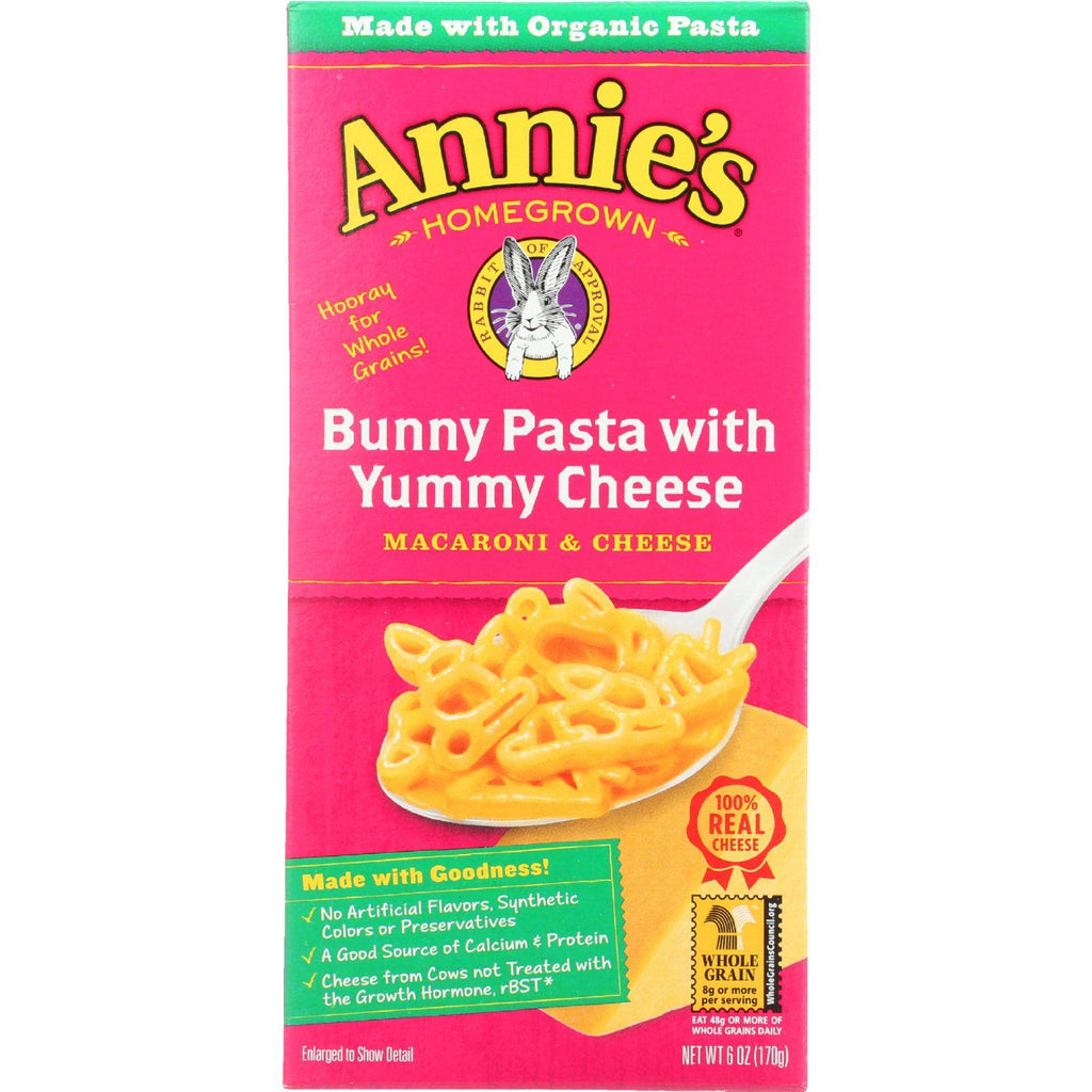 Annies Homegrown Macaroni And Cheese - Organic - Bunny Pasta With Yummy Cheese - 6 Oz - Case Of 12