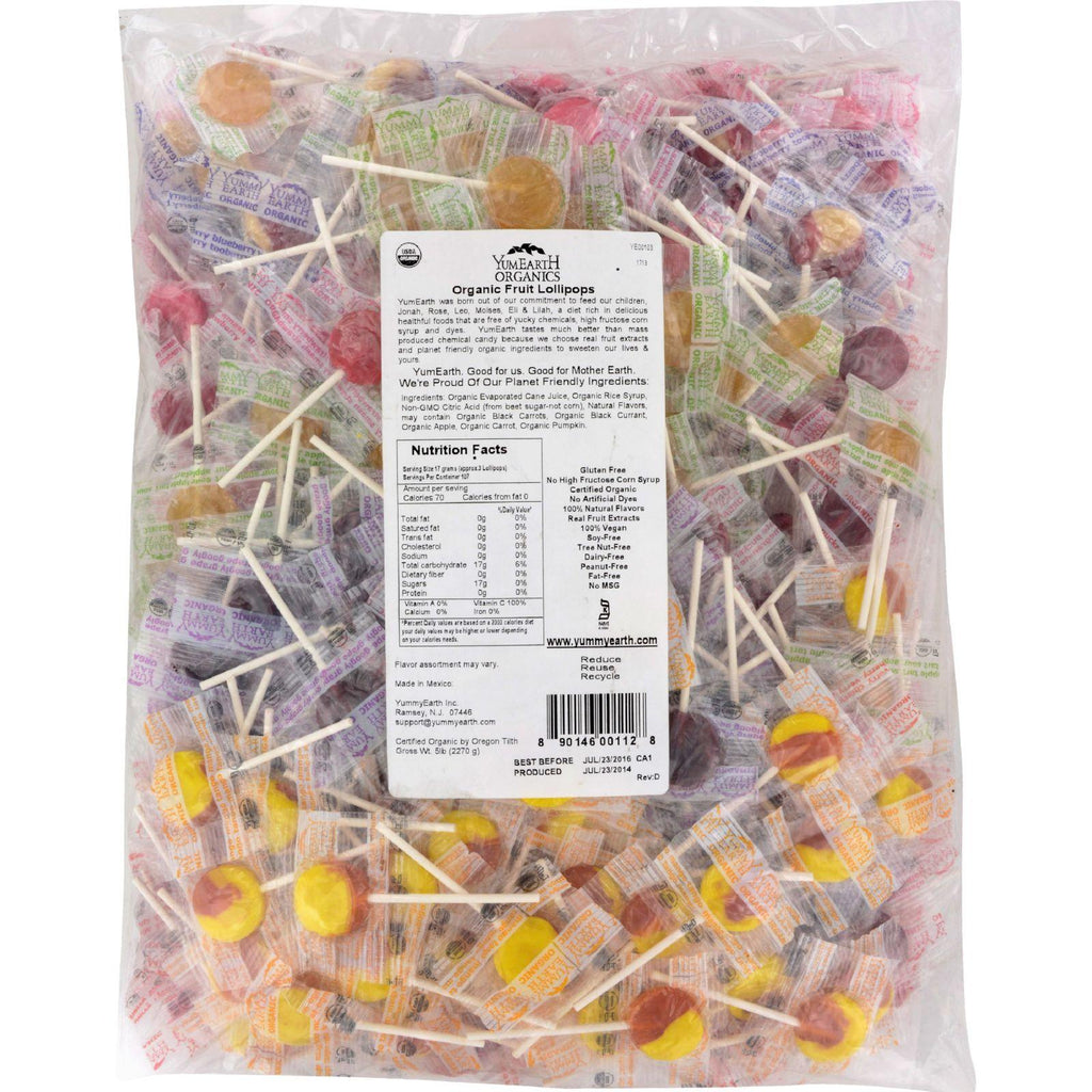 Yummy Earth Organic Fruit Lollipops - Assorted Fruits Flavors - 5 Lb Container - Default Title - Cooking, Foods & Beverages - Yummy Earth