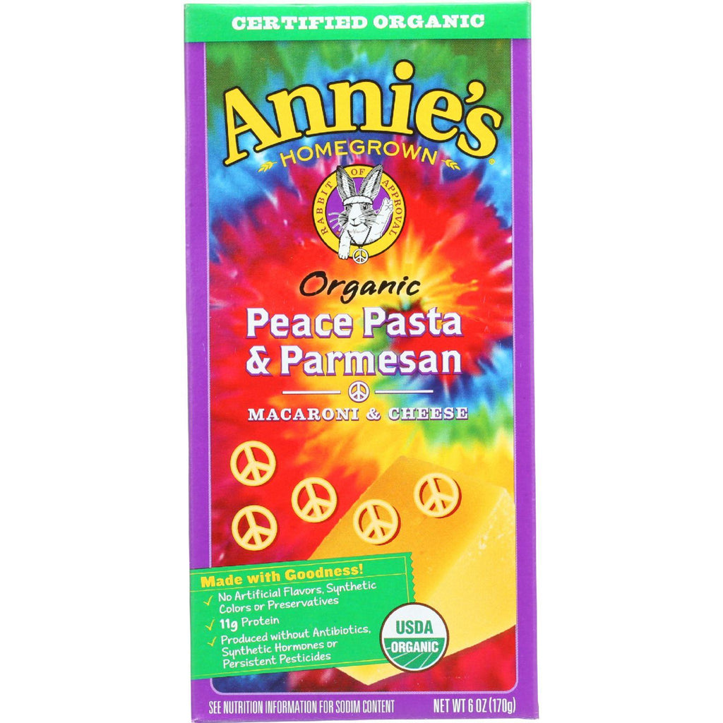 Annies Homegrown Macaroni And Cheese - Organic - Peace Pasta And Parmesan - 6 Oz - Case Of 12