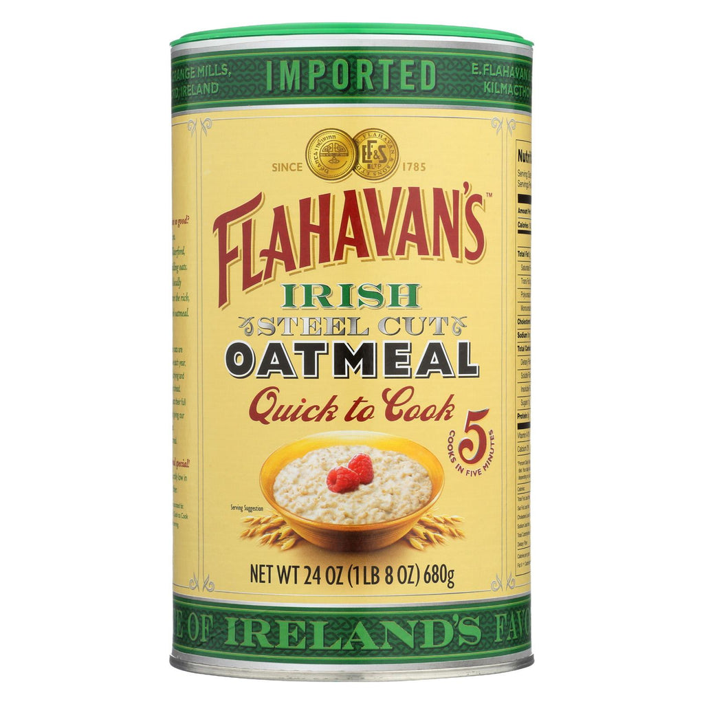 Flahavans Oatmeal - Steel Cut - Quick Cook - Case Of 6 - 24 Oz