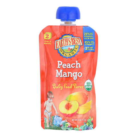 Earth's Best Organic Peach Mango Baby Food Puree - Stage 2 - Case Of 12 - 4 Oz.