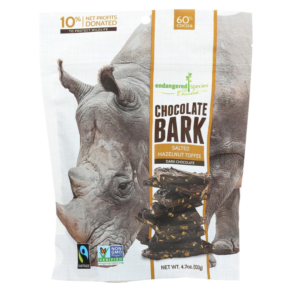 Endangered Species Chocolate Dark Chocolate Bark - Salted Hazelnut Toffee - Case Of 12 - 4.70 Oz