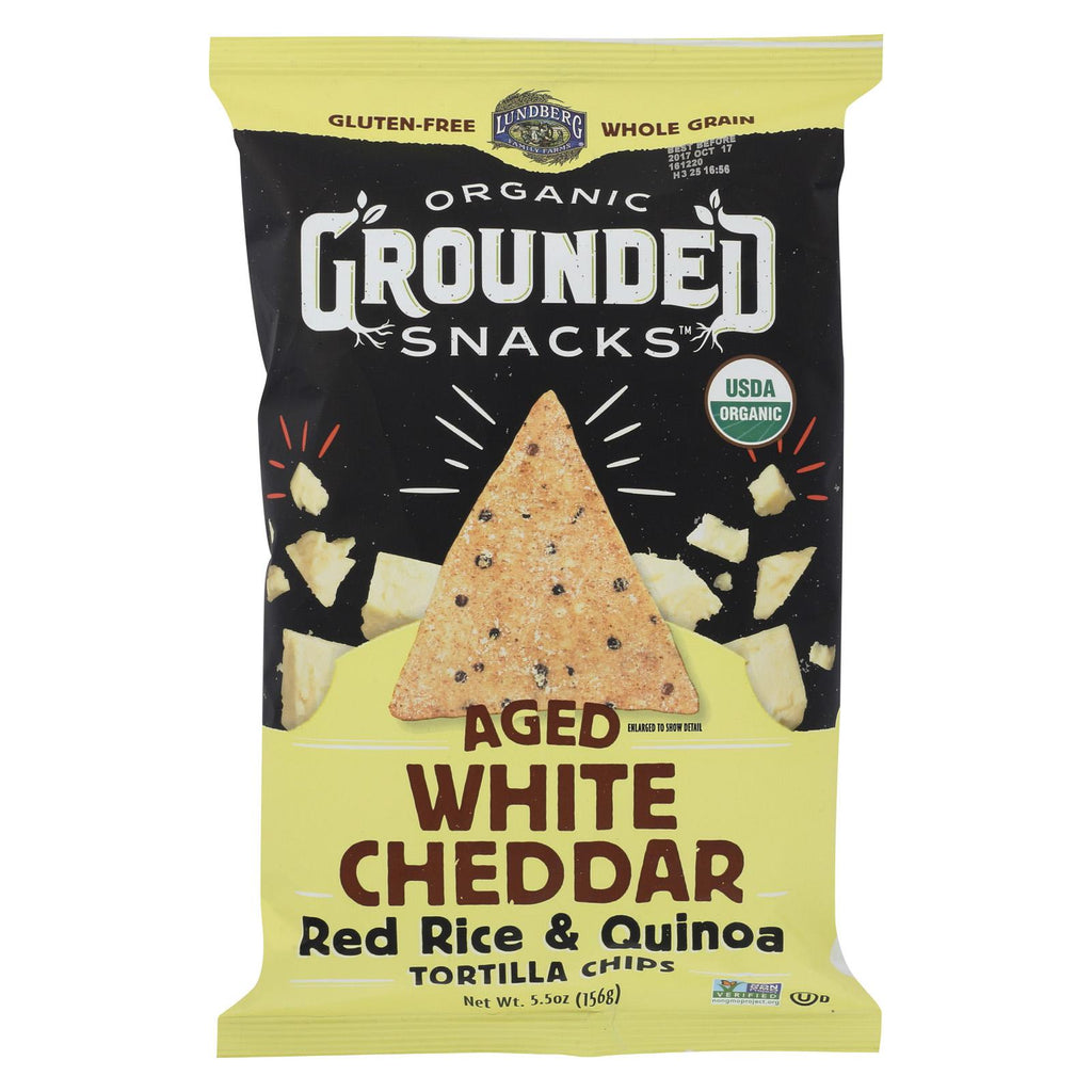 Lundberg Family Farms Organic Grounded Chips - White Cheddar - Case Of 12 - 5.5 Oz