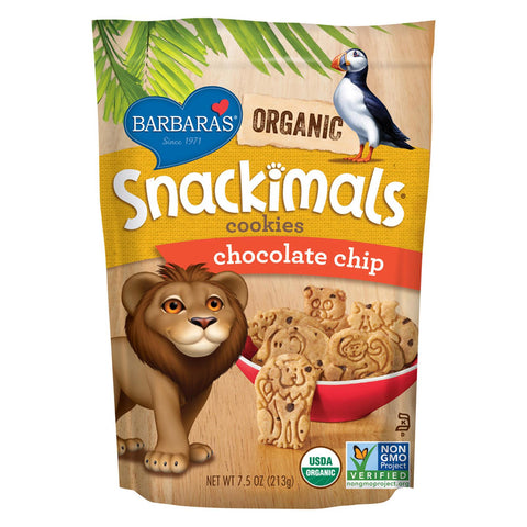 Barbara's Bakery Snackimals Cookies - Chocolate Chip - Case Of 6 - 7.5 Oz.