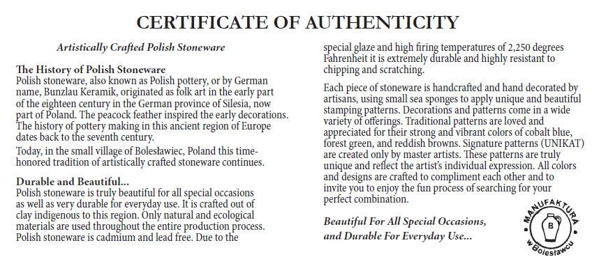 Janelle Imports Polish Pottery Certificate of Authenticity