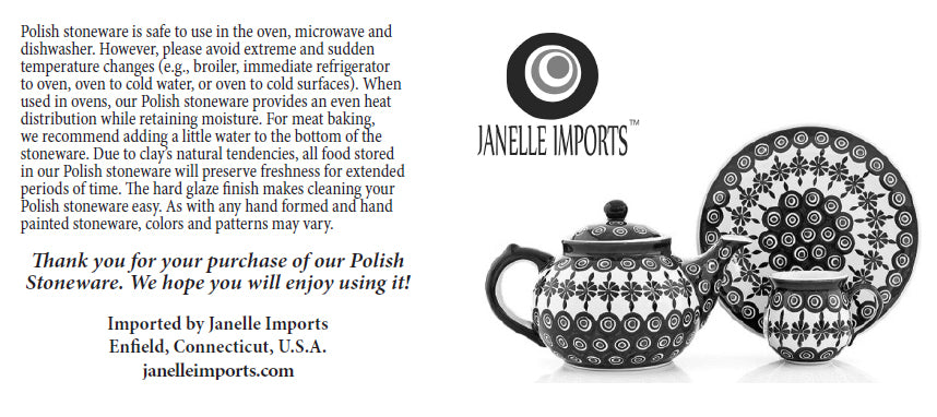 Janelle Imports Polish Pottery Care